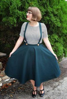 Rosie Wednesday: Adventures in Vintage-Style Sewing: Hunter Green Suspender Skirt