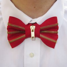 Mens Zipper Bow Tie in Red and Brass. $32.00, via Etsy.