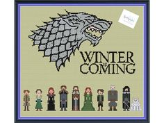 Winter is Coming Does the North remember? Well, if you love House Stark and want to remember the entire crew, check out this pattern! This is an obvious artistic interpretation of fictional characters of George r.r. Martins work on Game of Thrones. I hope you enjoy it! THIS IS A DIGITAL PDF FILE ONLY! Includes 2 patterns (color & black and white) Characters: Rickon, Arya, Sansa, Robb, Eddard, Catelyn, Bran, Hodor, Jon Snow & Ghost Pattern Details: Fabric: 14 count Aida Grid Size: 1...