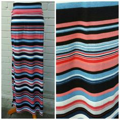 """Striped Maxi Skirt This maxi skirt has black, blue, peach, and bright red horizontal stripes. Foldover waist band and side slits. 40"""" long. New without tags. Joe B Skirts Maxi"""