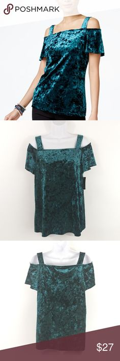 INC Velvet Cold Shoulder Top Top off your enviable style in this luxe velvet top from INC International Concepts.  Size information: Women's L (US) - Unlined - Hits below hip  Condition Notes: New with Tags  We will consider all reasonable offers. Thanks for shopping with us! INC International Concepts Tops