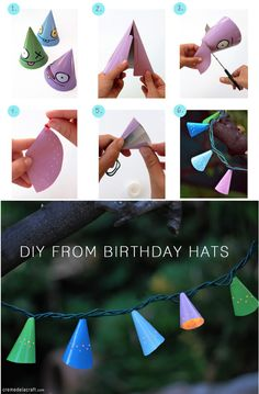 Make a colorful garland from birthday hats. 46 Awesome String-Light DIYs For Any Occasion Twinkle Lights, String Lights, Diy Luz, Apple Garland, Diy And Crafts, Crafts For Kids, Light Garland, Birthday Crafts, Paper Lanterns