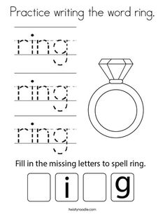 Practice writing the word ring Coloring Page - Twisty Noodle Ing Words, Cool Coloring Pages, Writing Practice, Kids Prints, Cursive, School Fun, Mini Books, Noodle, Spelling