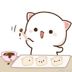 蜜桃猫 Cute Kawaii Animals, Kawaii Faces, Kawaii Cat, Cute Cartoon Images, Cute Cartoon Wallpapers, Cute Images, Cute Love Pictures, Cute Love Gif, Chibi Cat