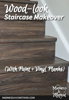 Using paint on the treads and vinyl planks on the risers, this wood-look staircase makeover completely transformed the raised ranch entry. Laminate Stairs, Vinyl Planks, Dry Brush Technique, Staircase Makeover, Cute Messages, Painted Stairs, Diy Flooring, Dry Brushing, Hacks Diy