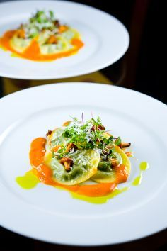 Five-Herb Ravioli with Chanterelles, Roasted Tomato Coulis and Basil Oil