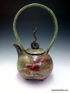 Raku Pottery - Decorative Teapot - TesTeaMent - Handmade Pottery. Ryan Peters does some beautiful, unique work with Raku