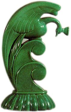 "Green ""Bird & Wave"" by Alexander Blazy - Cowan Pottery - 1927"