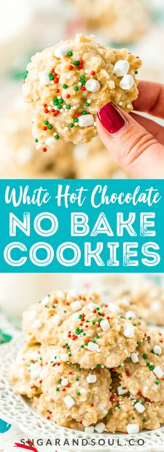 These White Hot Chocolate No Bake Cookies are so simple to make with butter, oatmeal, marshmallows, pudding, hot chocolate mix and more! They're nut and gluten free and Santa is sure togobble them up!