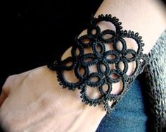 Tatted Lace Pendant La Petite Goth by TotusMel on Etsy