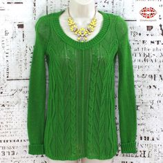 """ANTHROPOLOGY GREEN OPEN KNIT SWEATER Juicy green lime sweater from Sparrow Anthropology. Beautifully cable knitted. Very lightweight and stretchy. Looks good with tank top but can be worn with a bralette. It's just enough """"see through"""" Size: Xs but fits S as well. Length: 25"""". Armpit to armpit: 16"""" plus approximately 8"""" stretch. Very good condition. 100% cotton Anthropologie Sweaters Crew & Scoop Necks"""