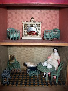 antique dollhouse | ... Antique Bliss Dollhouse With French Penny Toy Furniture