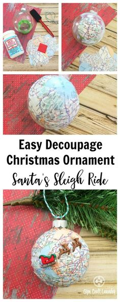 easy decoupage idea for christmas make this adorable santa sleigh decoupage ornament in minutes