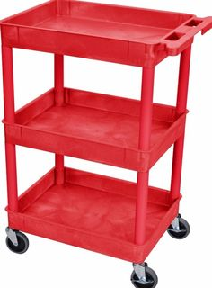 Luxor Plastic Red 3 Tub Tall Utility Cart Wheeled Design Top Shelf Office  Stands