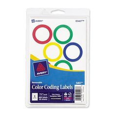 Avery Assorted Removable Color Coding Labels 1.25 Inch Round Pack of 400 (5407) #AveryDennison