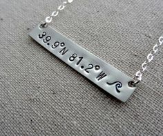 Sterling Silver Hand Stamped Coordinates Necklace by cjsseashop