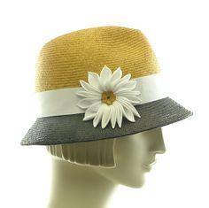 Straw Fedora Hat for Women - Handmade Summer Hat - 1940s Style Hat - Black Gold White