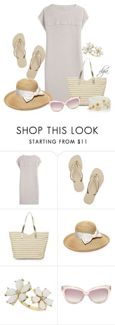 """""""Brunello Cucinelli Silk T-Shirt Dress"""" by dgia ❤ liked on Polyvore featuring Brunello Cucinelli, Havaianas, Monsoon, Gottex, Miss Selfridge, Linda Farrow and The Limited"""