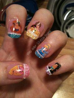 Disney Princesses Nail Decals Belle Cinderella Ariel Art Decoration Sticker 2013 | eBay
