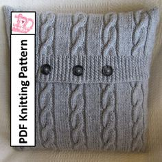Cable knit pillow cover pattern, Classic Cable 18 x18 pillow cover - PDF KNITTING PATTERN