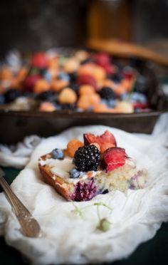 Lavender Plum Berry Sheetcake with a Lemon Vanilla Glaze