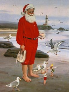 Santa's Time Off - by Tom Browning - tombrowning.com Nautical Christmas, Tropical Christmas, Beach Christmas, Father Christmas, Beautiful Christmas, Christmas Time, Christmas Decor, Christmas Artwork, Christmas Drawing