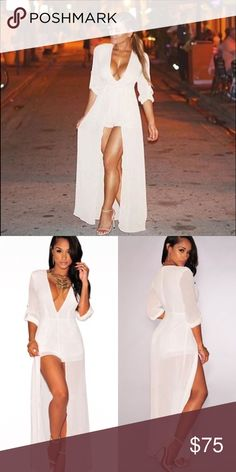 ✨Elegant Maxi Romper✨ This piece is everything! Beyond stunning and beautiful! It trails beyond you when you walk!👑You will get millions of compliments from men/women. The day I wore one out, I got tired of saying thank you 😂everyone kept telling me how beautiful it was!Lol 🚨BRAND ONLY LISTED FOR EXPOSURE🚨 **Actual Brand=All item sold are from my online boutique website in Posh Bio.   **I have one in yellow comment below if interested. I'm debating on whether or not I should let it go…