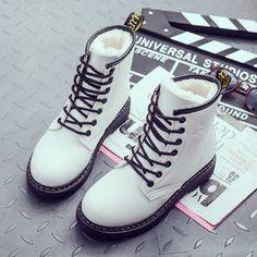Winter student martin boots from Fashion Kawaii [Japan & Korea] - Women Shoes Sock Shoes, Cute Shoes, Me Too Shoes, Shoe Boots, Shoes Heels, Ankle Boots, Cute Winter Shoes, Doc Martens Outfit, Doc Martens Boots