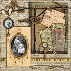 Running Wild through Summer Days ~ Heritage collage page with interesting vintage ephemera background.