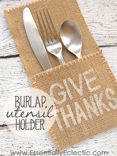 DIY Burlap Utensil Holder | www.EssentiallyEclectic.com | This burlap utensil holder is super easy to make and is a cute addition to the dinner table!