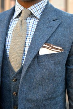 blue tweed suit, as summer is whining down its good think about swapping for a thicker suit. Tweed is variable and warm.