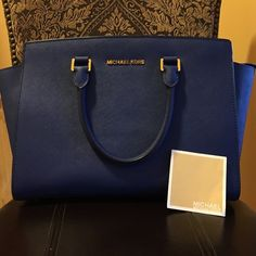 Micheal Kors Handbag Beautiful Sapphire Blue Selma Satchel by Micheal Kors. Perfect condition inside & out. No strap. Price Firm. Bags Satchels