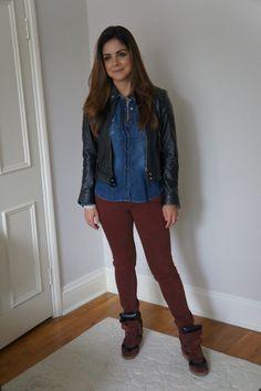 shop 126 jacket, zara denim shirt, twenty8twelve by sienna miller burgundy jeans and isabel marant sneakers