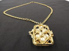 Vintage Goldtone Textured Chain Link Necklace Open Purse Pearl Pendant Charm  #Unbranded
