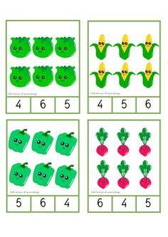 Manipulativos ABN tarjetas conteo con verduras 1-6 -Orientacion Andujar Math Division Worksheets, Worksheets For Kids, Learn To Count, Toddler Activities, Kindergarten, Beautiful Pictures, Holiday Decor, Cards, Google