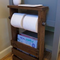Beautiful and unique rustic/industrial 3 in 1 bathroom organizer with magazine holder, double toilet paper holder and small side table