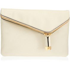 Henri Bendel Debutante Convertible Clutch ($278) ❤ liked on Polyvore featuring bags, handbags, clutches, purses, cream, henri bendel, purse, fold over handbag, white clutches and cream clutches