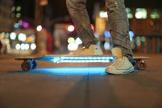 lights under skateboard