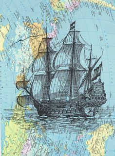 MapSailboatshipBirthday gift art Book Page by studioflowerpower, $9.50