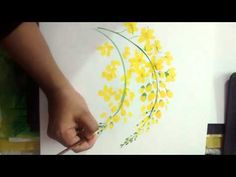 Cassia fistula flower painting.a simple way - YouTube