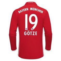 16-17 FC Bayern Munichen Cheap Home Long Sleeve Replica Shirt #19 GOTZE [E774]