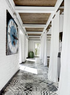 In an Umbrian home designed by Paola Navone, a mix of Moroccan tiles of her own design, from Carocim. Photograph via Dwell. Home Interior, Interior Architecture, Interior And Exterior, Interior Design, Tiles For Less, Warehouse Renovation, Patchwork Tiles, Patchwork Patterns, Tile Patterns