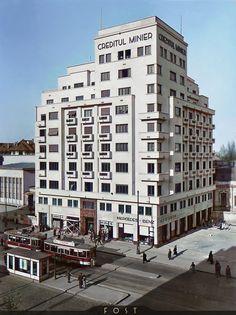 Carte postala, Bucuresti, Blocul Creditul Minier. Sfarsitul anilor 30. Colorizare Fost 2019 Bucharest, Buildings, Multi Story Building