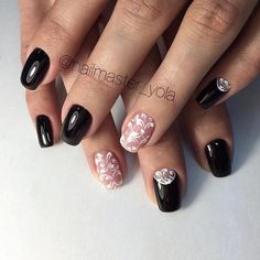 Contrasts are the best when it comes to summer nail art ideas. You can add black and nude colors together since they contrast so well. Balance the contrast with some white details on top that resemble lace patterns.