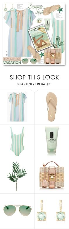 """Welcome to Paradise: Tropical Vacation"" by jelenalazarevicpo ❤ liked on Polyvore featuring MANGO, Yosi Samra, Clinique, Mark Cross, Gucci and Effy Jewelry"