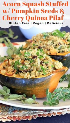 The yummiest vegetarian stuffed squash recipe! It's filled with pumpkin seed and tart cherry quinoa pilaf. So healthy and comforting for fall and the Thanksgiving holiday! Visit EA Stewart, The Spicy RD at www.eastewart.com for the gluten free and vegan recipe. #stuffedsquash #acornsquash #thanksgivingrecipes Vegetarian Recipes, Cooking Recipes, Healthy Recipes, Delicious Recipes, Vegan Vegetarian, Quinoa Pilaf, Acorn Squash Recipes, Squash Food, Healthy Eating