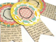 HANDMADE PAPER ROSETTES - Scrapbook Embellishments, Paper Rosetttes, Junk Journal Embellishments, Project Life Embellishment, Set of 3