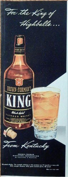 King Whiskey  print ad  Color Illustration  king of highballs  original 1947 Magazine Art