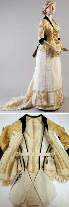 Evening dress, Mrs. E. Donigan, New York, 1880. The skirt is missing at least one layer. Kent State Univ. Museum blog