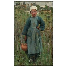 Oil painting - Peasant Girl Carrying a Jar, Quimperlé